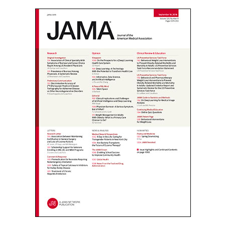 <title>Physician Burnout, PET Diagnosis of Alzheimer Disease, Weight Loss Interventions to Prevent Obesity-Related Illness, and more</title>