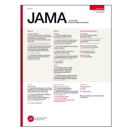 <title>Novel Sepsis Phenotypes, Effect of Thrombomodulin on Mortality in Sepsis-Associated Coagulopathy, Effect of Laparoscopic vs Open Distal Gastrectomy on Survival in Gastric Cancer, and more</title>