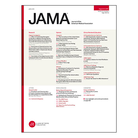 <title>Effect of Maintenance Olanzapine vs Placebo on Psychotic Depression Relapse, Abnormal TFTs and Preterm Birth, USPSTF BRCA Testing Guidelines, and more</title>