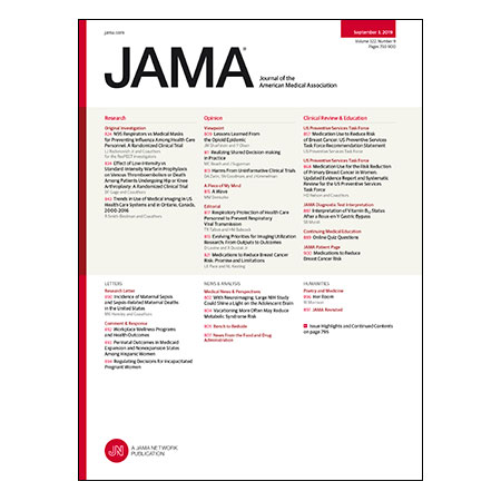 <title>N95 Filter vs Standard Medical Facemasks for Influenza Prevention, Low vs Standard Intensity Warfarin for VTE Prophylaxis, Guideline on Medications to Prevent Breast Cancer, and more</title>