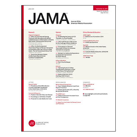 <title>Mycophenolate vs Methotrexate for Uveitis, Home-Based Physical Therapy After Hip Fracture, Dialysis Facility Ownership Profit Status and Kidney Transplantation, and more</title>
